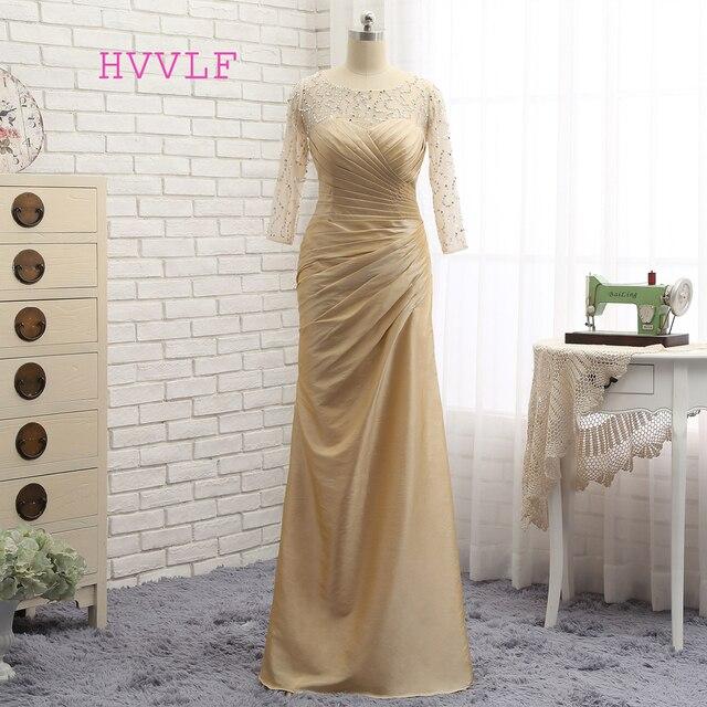 Plus Size Gold 2018 Mother Of The Bride Dresses Mermaid 3 4 Sleeves Taffeta Bead