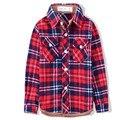 Bebê Das Meninas Dos Meninos Camisa Xadrez Britânico Londres Estilo Crianças da Camisa de Algodão Crianças Primavera Outono Desgaste Inferior Blusa Frete Grátis 35C