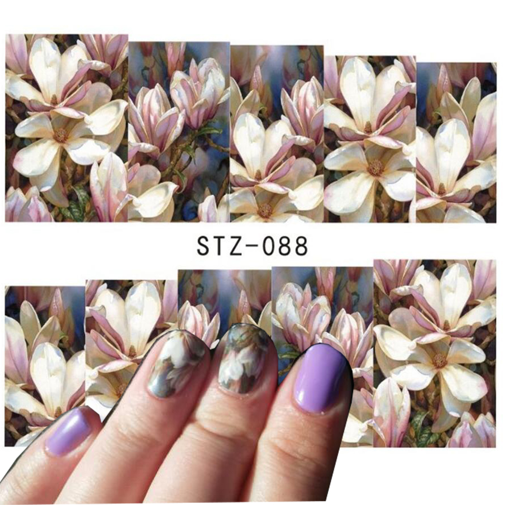 1 sheet Nail Art Water Transfer Nail Stickers Decal Flower Designs Nail Decorations DIY Watermark Wraps Manicure Tools SASTZ088 yzwle 1 sheet new nail art full cover blue flower stickers decals water transfer wraps decorations manicure care tools