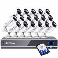 DEFEWAY 2000TVL 1080 P HD 16 PCS CCTV Système de Caméra de Sécurité Vidéo Surveillance DVR Kit 16 CH Nuit Vision Avec 2 TB HDD