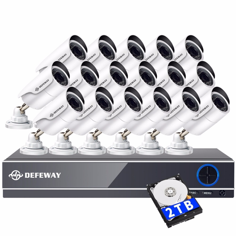 DEFEWAY 2000TVL 1080 p HD 16 pz CCTV Sistema di Telecamere di Sicurezza Video Sorveglianza DVR Kit 16 CH Night Vision Con 2 tb HDD