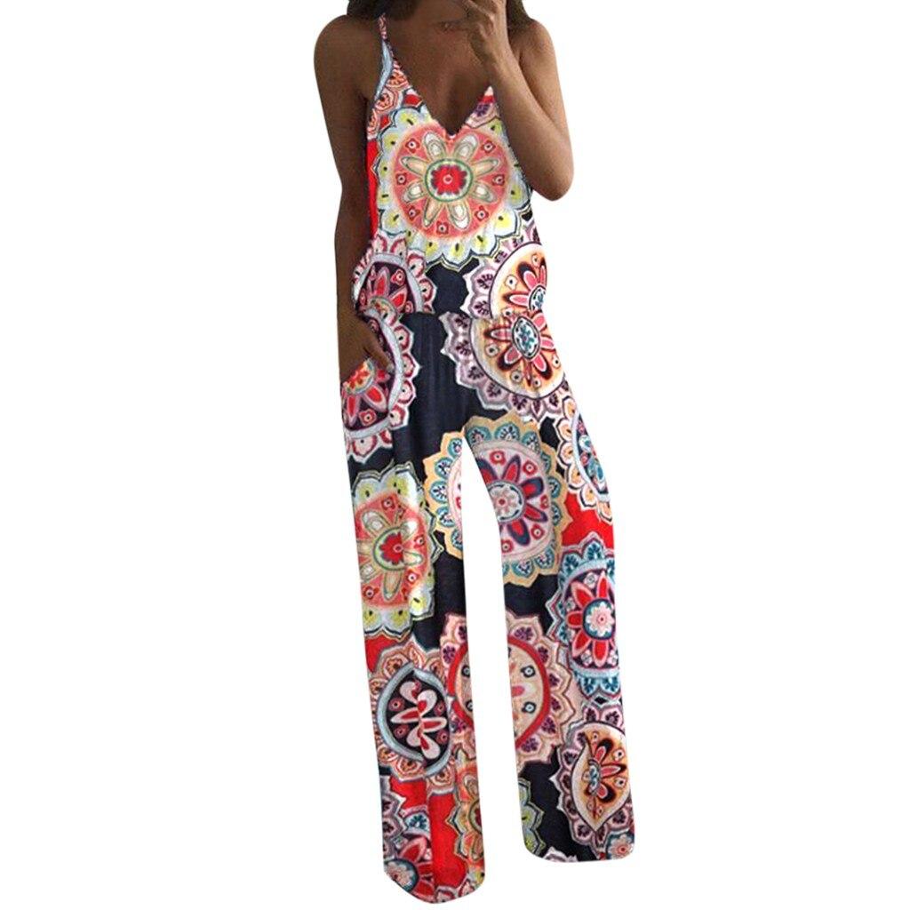 combinaison femme shein bodysuit women rompers Women Lady's Summer Sexy Flower Printed Camisole Sleeveless V Neck Jumpsuit Z4