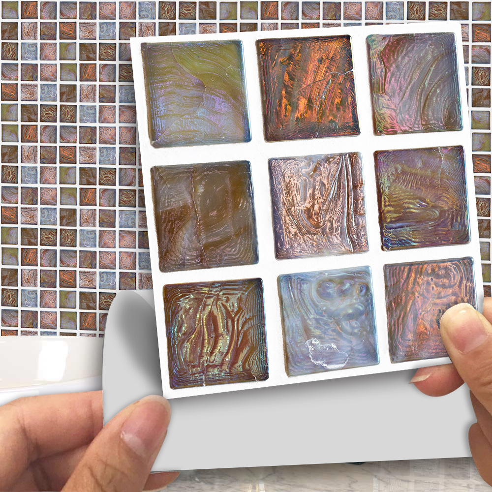 Us 7 06 40 Off 18pcs Set Removable 3d Tile Stickers Cover 0 18m 2 Self Adhesive Waterproof Bathroom Kitchen Decor Agate Wall Sticker Art Decals In