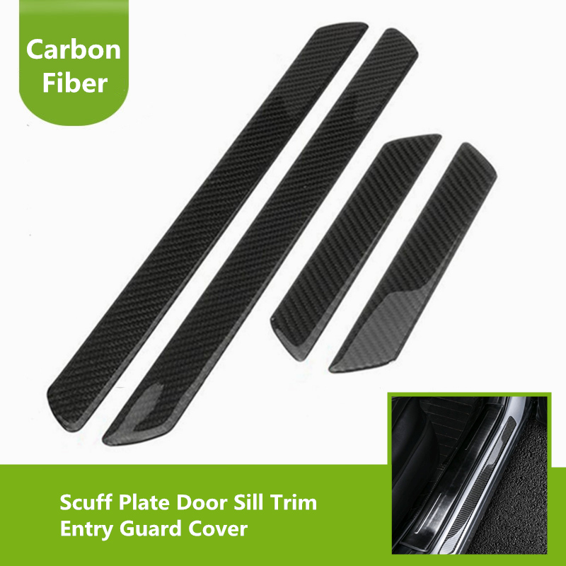 4x Universal Soft Carbon Fiber Scuff Plate Door Sill Trim Entry Guard Cover Panel Step Protector For Car Trucks SUV Accessories