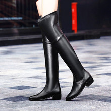 New Women Boots Quality Stretch Leather Black Over The Knee Boots Fashion Slim Thigh High Boots