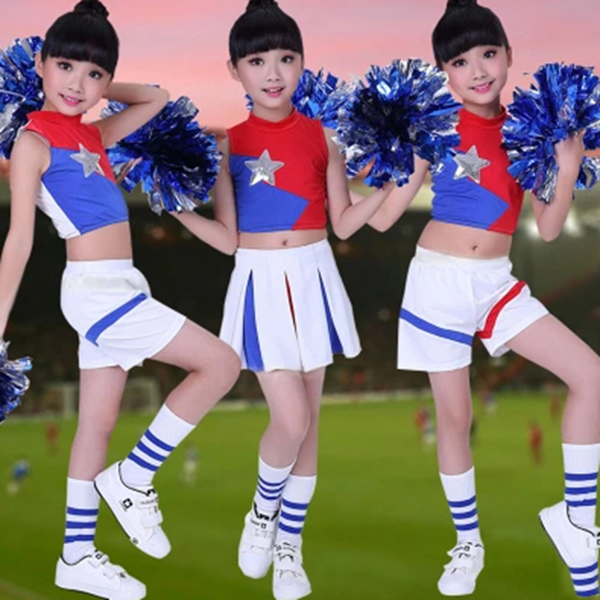 Kids Girls Sleeveless Vest+skirt Cheerleader Set Stage Wear Performance Dance Costumes Children Cheerleading School Uniform