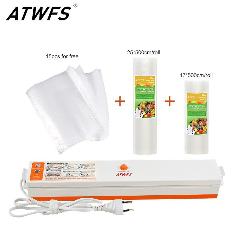 ATWFS Vide Scellant Vide Sac D'emballage Machine D'étanchéité Machine Packer Y Compris 15 pcs Sacs et Emballage Rouleaux 25 cm + 17 cm X 500 cm