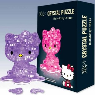 Candice guo! New arrival hot sale 3D crystal puzzle hello kitten model DIY funny game creative gift 1pc plastic toy funny game pinart 3d clone shape pin art shoumo variety colorful needle child get face palm model 1pc free shipping