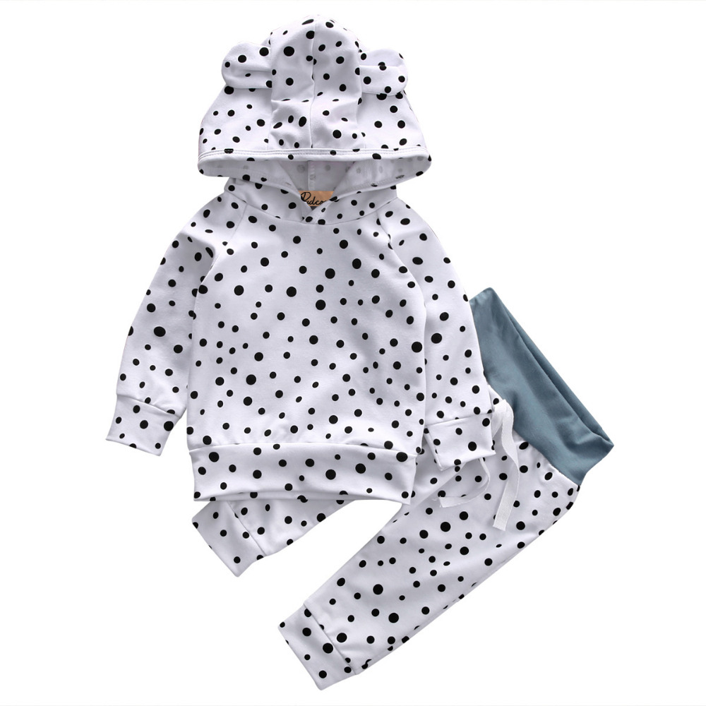 cdeb84a1d 2pcs newborn kid baby boy girl clothes cute long sleeve cotton bear polka  dot hooded sweatshirt+long pants baby clothes set
