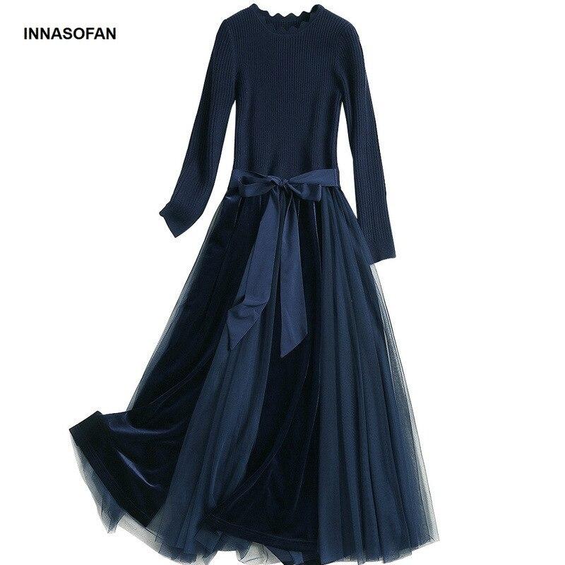 Longue Robe Manches Longues Menant Velours hiver Taille Innasofan Femmes Chic Bleu Tulle Avec Euro Haute américain Tricot De Automne f6w6gax