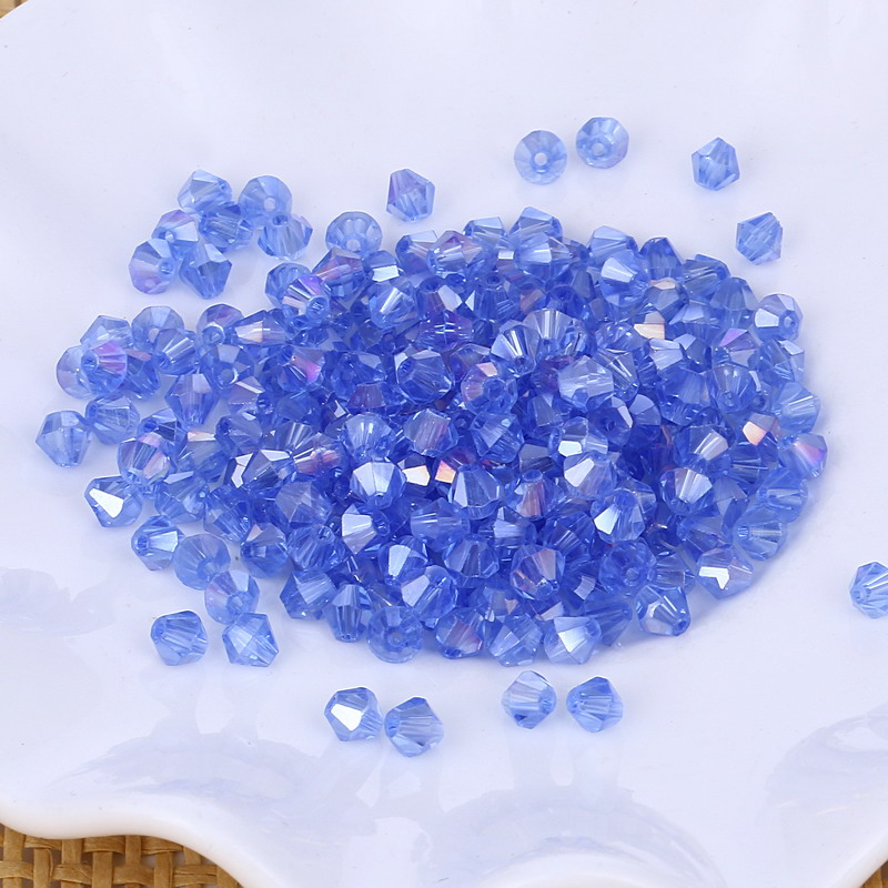 wholesale 5301# Grade AAA Light Sapphire AB color 3mm 4mm 5mm 6mm 8mm Crystal Bicone Beads