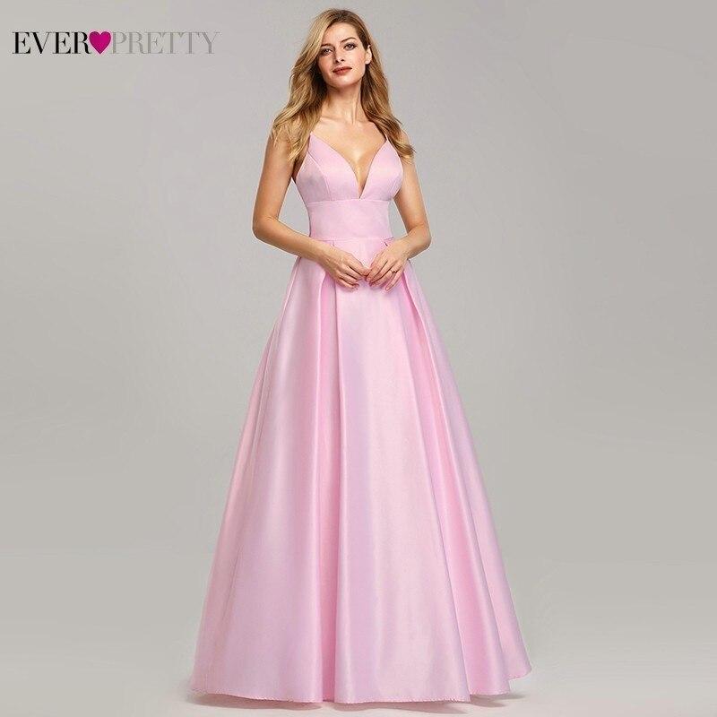 New Pink   Bridesmaid     Dresses   Ever Pretty Satin A-Line V-Neck Spaghetti Straps Sexy Wedding Party   Dresses   Vestido De Festa Longo