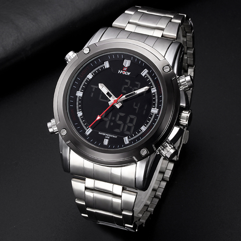HPOLW Men Sports Watches Electronic Large Watch Stainless Steel Fashion LED Digital Wristwatches Male Clock Relogio MasculinoHPOLW Men Sports Watches Electronic Large Watch Stainless Steel Fashion LED Digital Wristwatches Male Clock Relogio Masculino