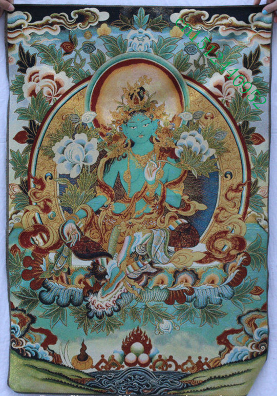 Tibet Buddhism Silk embroidery Seat Green Tara Buddhism Thangka Painting Mural
