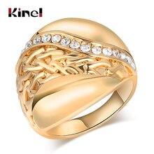 Женское Винтажное кольцо kinel золотистое с геометрическим узором