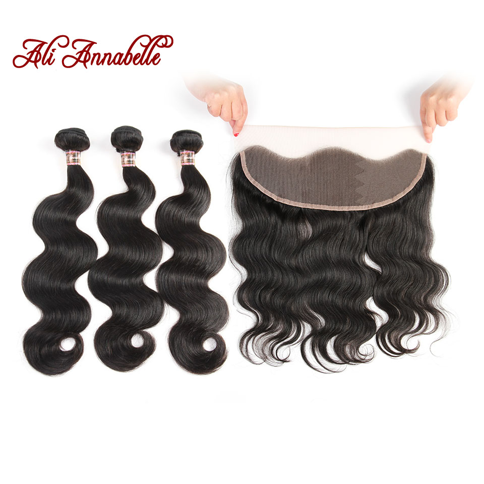 Ali Annabelle Hair Malaysian Body Wave Hair With Frontal Closure 3 Bundles Remy Human Hair With