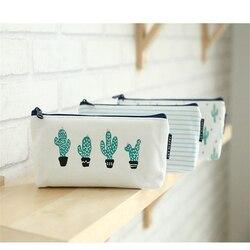 S308 adorável criativo breve estilo bonito dos desenhos animados simples de alta capacidade multifuncional cacto verde bolsa lona estudante pencilcase