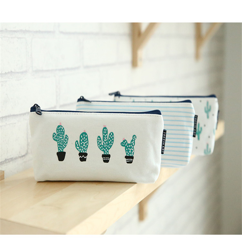 S308  lovely creative Brief Style cute cartoon simple high capacity multifunctional Green cactus canvas bag student pencilcase cactus cute cactus brooch