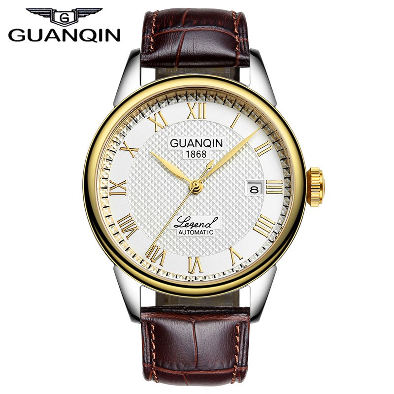 Luxury Brand GUANQIN 2015 Business Gold Watches Men Wristwatches automatic Mechanical Watches Leather Strap все цены