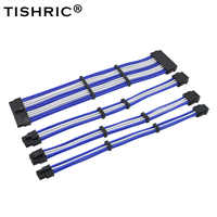 TISHRIC Ärmeln Grundlegende Power Verlängerung Kabel Kit 4in1 ATX 24Pin EPS 4 + 4Pin PCI-E 6 + 2Pin PCI-E 6Pin power Verlängerung Kabel 9 Farben