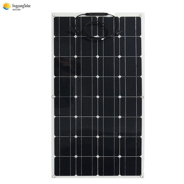 Panel solar 300w 200w 100w 400w V 18V 24V panel solar flexible para el cargador de batería 12V monocristalino celular 1000w casa kit de sistema