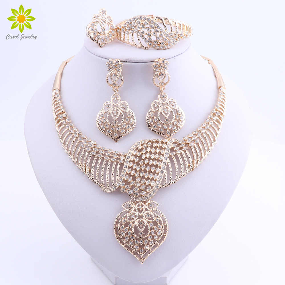 Women Wedding Jewelry Sets For Brides Gold Color Costume Necklace Earrings Set Fashion Indian African Beads Jewelry Set