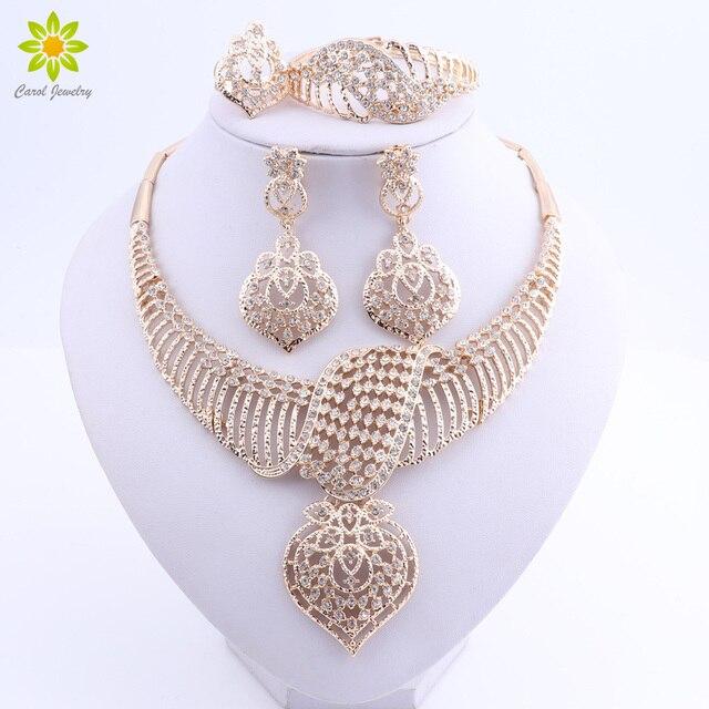 נשים חתונה תכשיטים עבור כלות זהב צבע תלבושות שרשרת עגילי סט אופנה הודי אפריקאי חרוזים תכשיטי סט