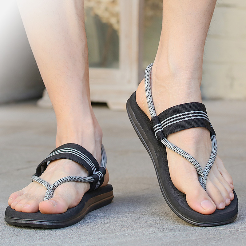 Sandals Slippers Flip-Flops Slides Beach-Shoes Male Summer Flats Roman for on Gladiator title=
