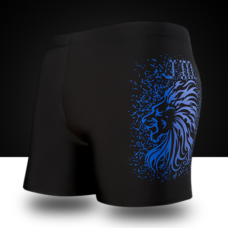 2018 Summer New Adult Men's Swimming Trunks Pants Solid Color Printing Body Shorts Beach Hot Springs Swimsuits
