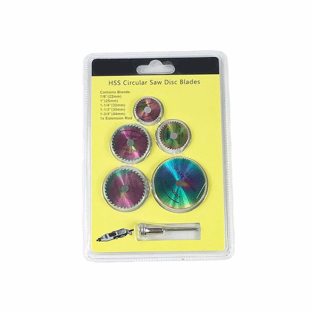 6PCS HSS Colorful Circular Saw Blade Set Wood Cutting Discs For Dremel Metal Cutter Rotary Tool With Drill Mandrel