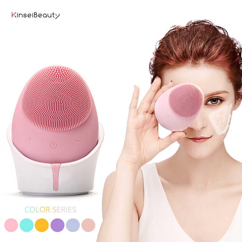 電気超音波シリコーン洗顔ブラシ防水ワイヤレス充電器キャンディーカラー洗顔楽器