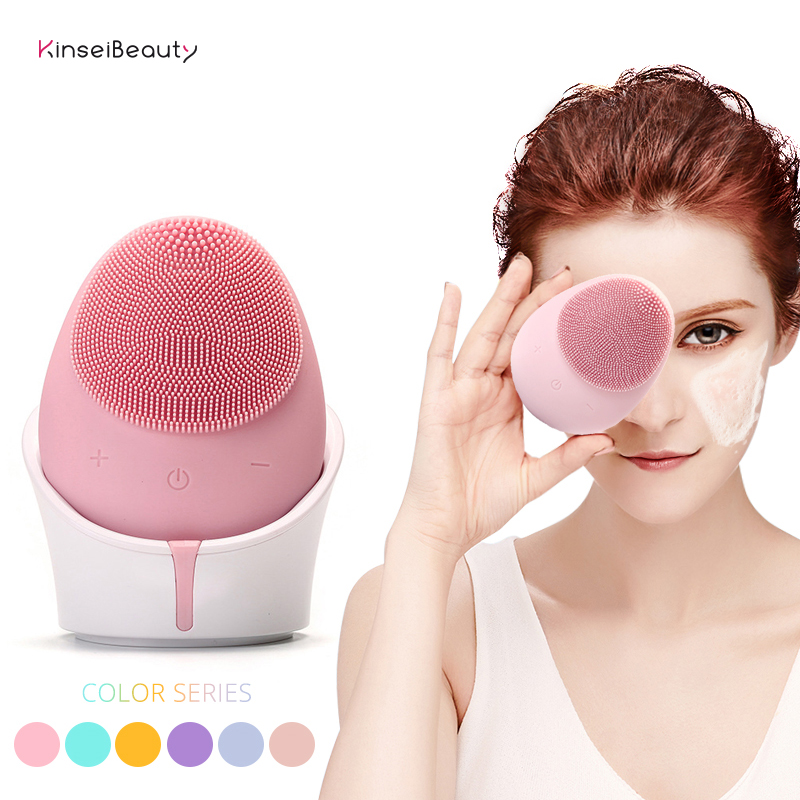 Electric Ultrasonic Silicone Facial Cleansing Brush Waterproof Wireless Charger Candy Color Face Cleansing Instrument in Powered Facial Cleansing Devices from Home Appliances
