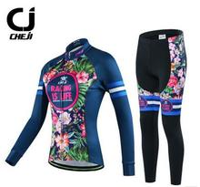 New CHEJI Women Cycling Jersey Suit Long Sleeve Bicycle Jacket Pants Set