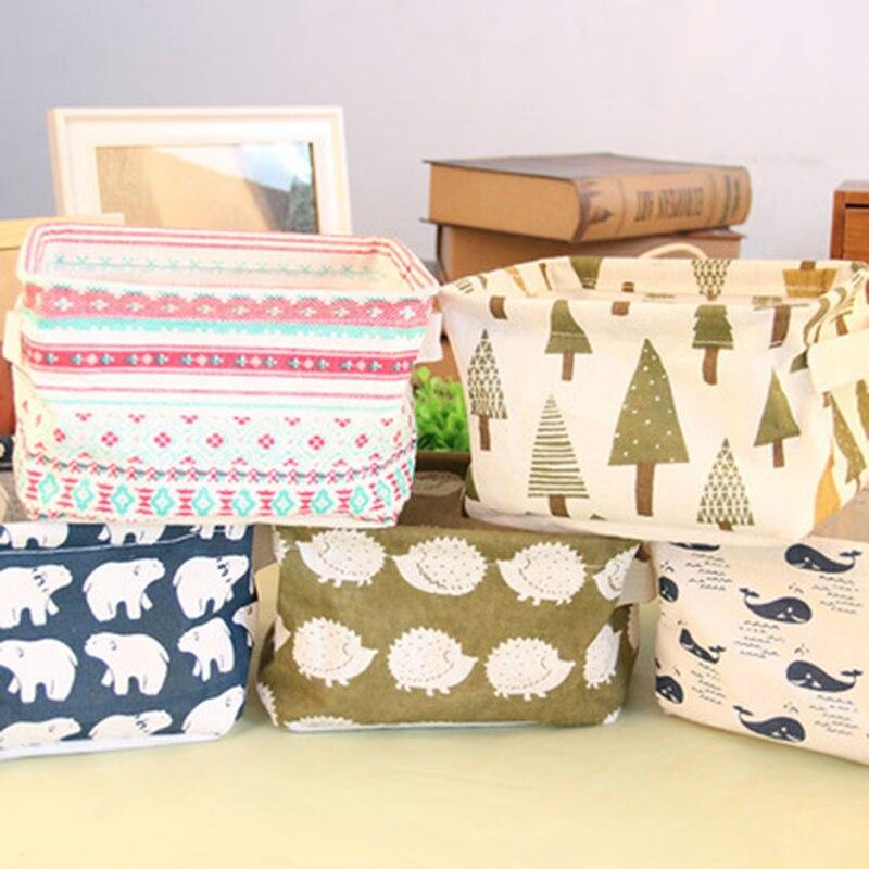 Cute Printing Cotton Linen Desktop Storage Organizer Sundries Storage Box Cabinet Underwear Storage Basket Fast Shipping TSLM1