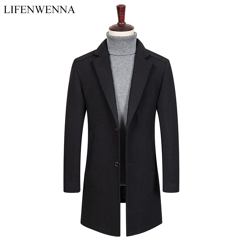 New Arrival Autumn Men's Solid High Quality Wool Trench Coat Men Fashion Single Breasted Leisure Slim Fit Mid-Long Woolen Coat(China)