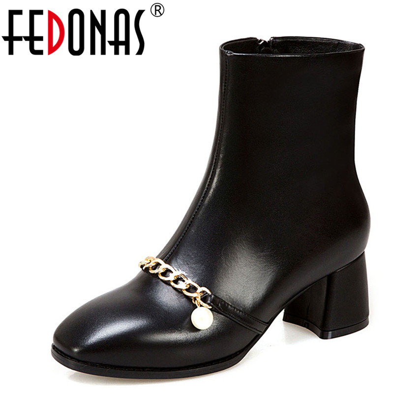 FEDONAS 1New Arrival Women Ankle Boots Genuine Leather Autumn Winter Warm High Heels Shoes Large Size Chain Elegant Basic Boots 2018 new arrival genuine leather zipper runway autumn winter boots round toe high heels keep warm elegant women ankle boots l29