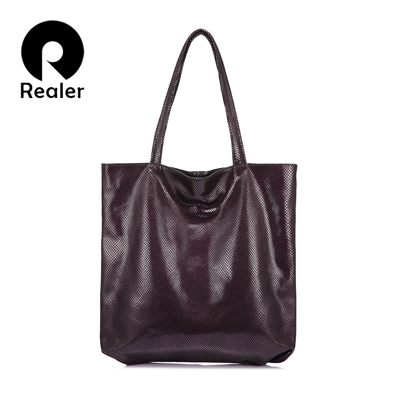 REALER genuine leather women bag large capacity ladies shoulder bags handbags high quality zipper totes female top-handle bags famous brand women handbags pu leather bag women tote high quality ladies shoulder bags large capacity ladies top handle bags