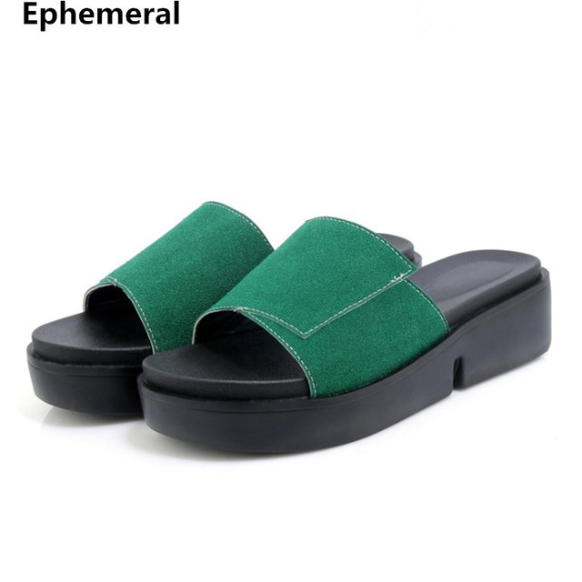 Platform slippers ladies summer slides open toe thick sole outdoor shoes  women 2018 new arrivals med