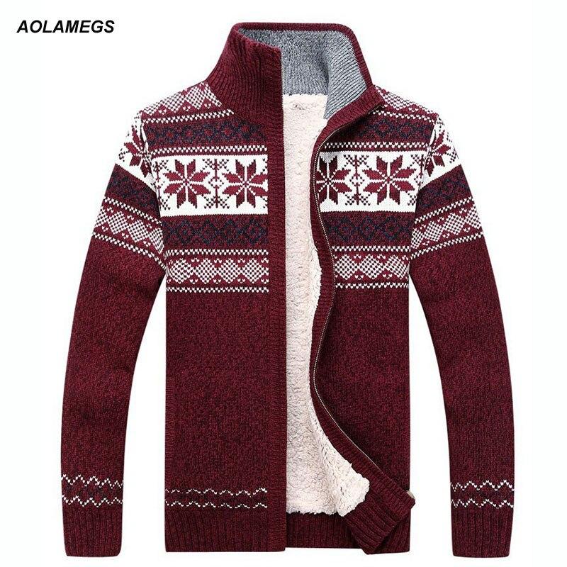 Aolamegs Hommes Pull Mode Automne Hiver Laine Cardigan homme Décontracté Épais Pull Chaud Mâle 2017 Tricot Sweter Hombre M-3XL