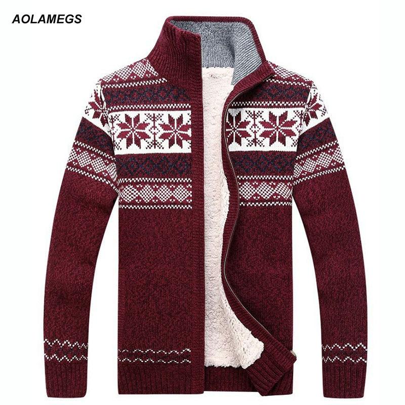 Aolamegs Տղամարդու սվիտեր Նորաձևություն Աշնանային Ձմեռային Բուրդ Cardigan Տղամարդկանց պատահական խիտ տաք տաք սվիտեր տղամարդկանց 2017 Տրիկոտաժի ճոճանակ Hombre M-3XL