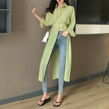 Long Shirt For Women Split High Waist Long Sleeve Turn Down Collar Blouse Thin Tops 2019 Spring Fashion New Buttons Long Blouse недорго, оригинальная цена