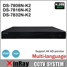 Hik DS-7808N-K2 DS-7816N-K2 DS-7832N-K2 H265 NVR with 4K Resolution 2SATA for DS-2CD2145F-IS DS-2CD2035-I ect. H.265 Camera
