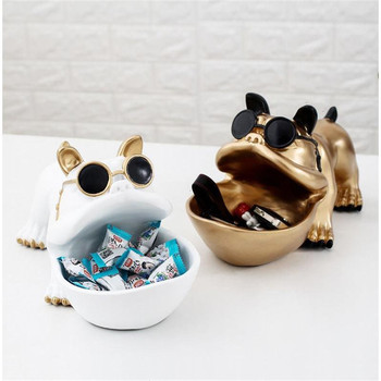 Home Decoration Dog Lucky Animal Bulldog Candy Dish Resin Crafts Storage Box Figurine L3013