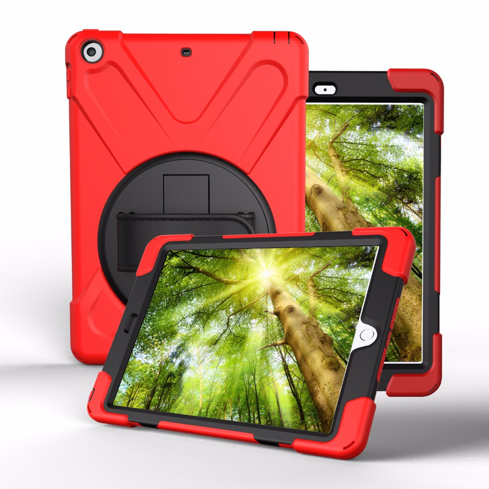 Shockproof Kids Protector Case For iPad 9.7 New 2017 A1822 A1823 Heavy Duty Silicone Hard Cover kickstand design Hand bracel+Pen for ipad pro 10 5 a1701 a1709 kickstand case heavy duty shockproof rugged armor hard pc silicone full body protect cover foripad