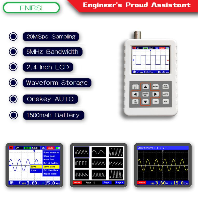 DSO FNIRSI PRO Handheld Mini Portable Digital Oscilloscope 5M Bandwidth 20MSps Sampling RateDSO FNIRSI PRO Handheld Mini Portable Digital Oscilloscope 5M Bandwidth 20MSps Sampling Rate