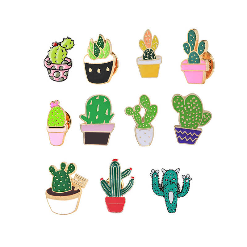 Grosir Warna Bros Cute Mini Kaktus Pot Prickly Pear Enamel Jaket Kerah Pin Tas Ikon Lencana Wanita Perhiasan