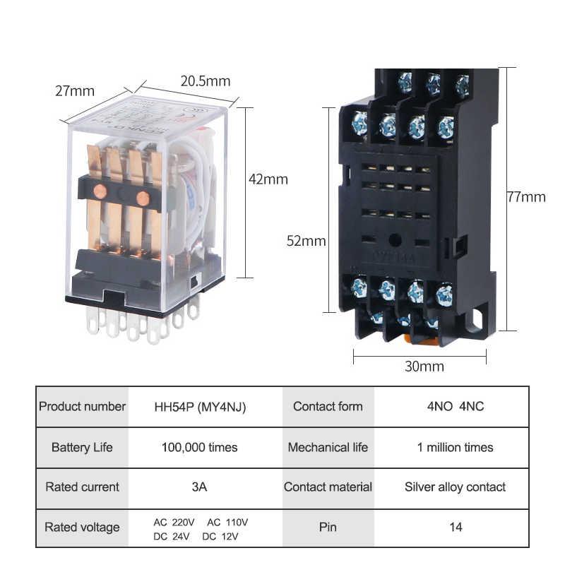 HH54P MY4NJ relais électromagnétiques 4PDT 4NO 4NC AC 220 V 110 V DC 24 V 12 V 3A relais de puissance interrupteur Base argent Contacts 14 broches
