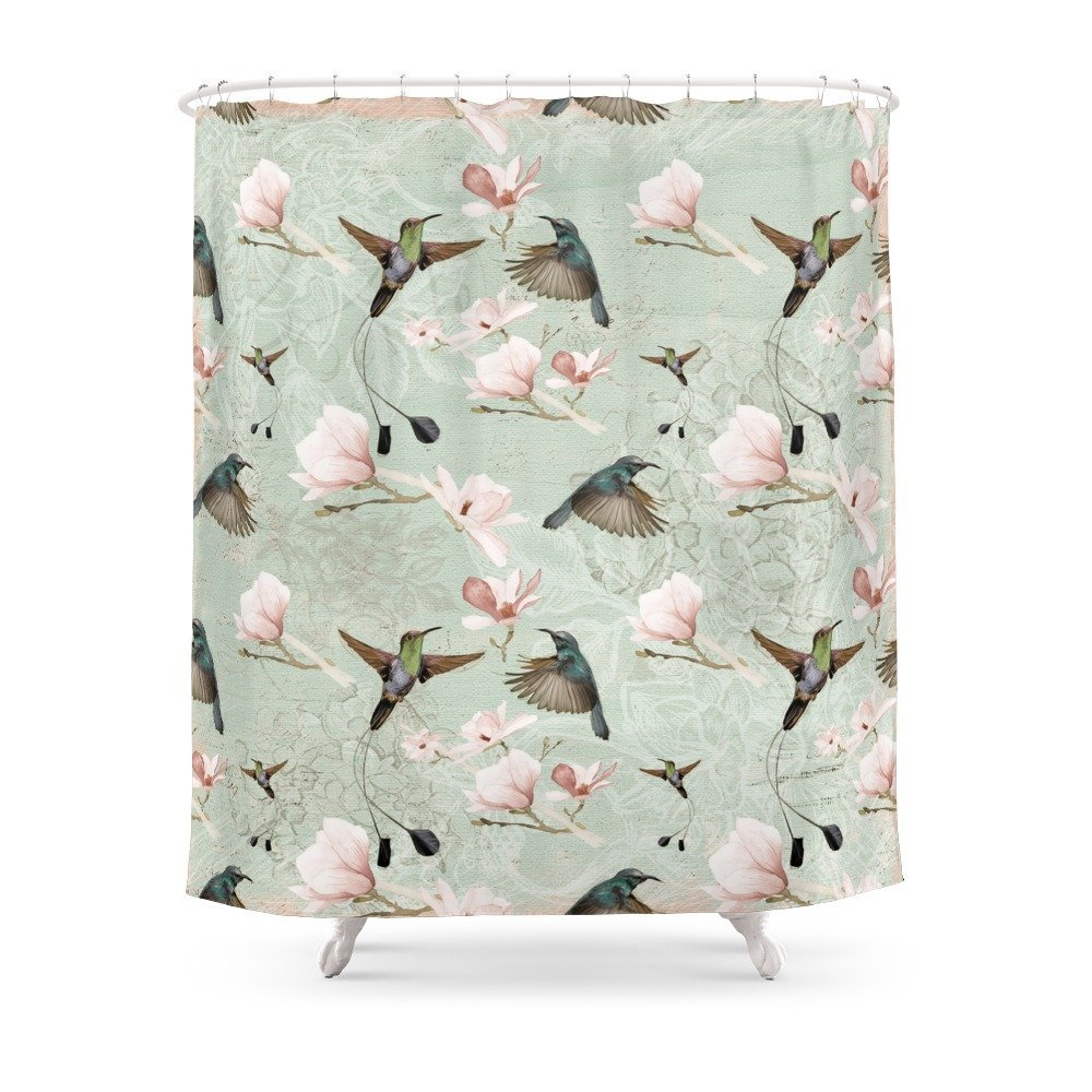 vintage watercolor hummingbird and magnolia flowers on mint shower curtain waterproof polyester fabric bathroom decor