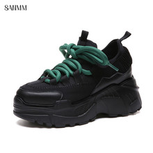 SANMM Women Comfortable Flat Platform Sneakers Height Increasing Casual Shoes Woman New Walking Shoes Mixed Colors AZ81