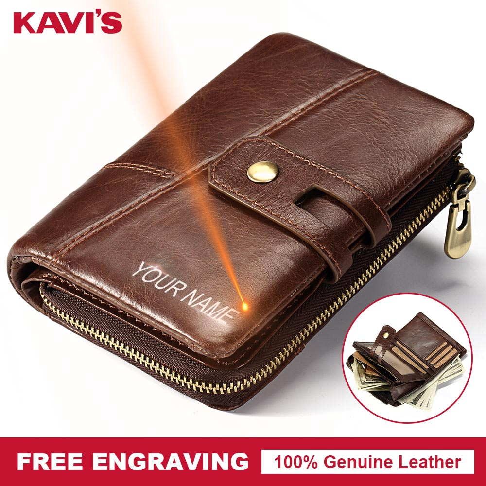 KAVIS Engraving Men Wallet Genuine Leather Vintage Coin Purse Zipper&Hasp Male Female Small Purse Practical Card Holder Walet